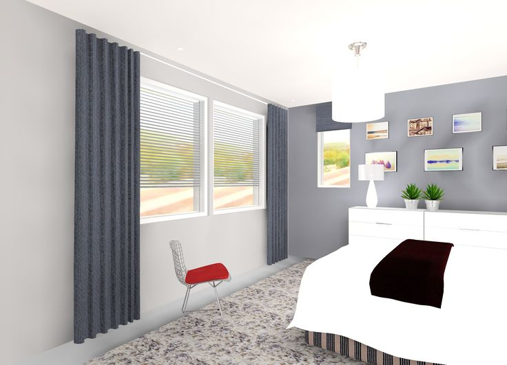 Modernin talon makuuhuone harmaalla terästettynä.