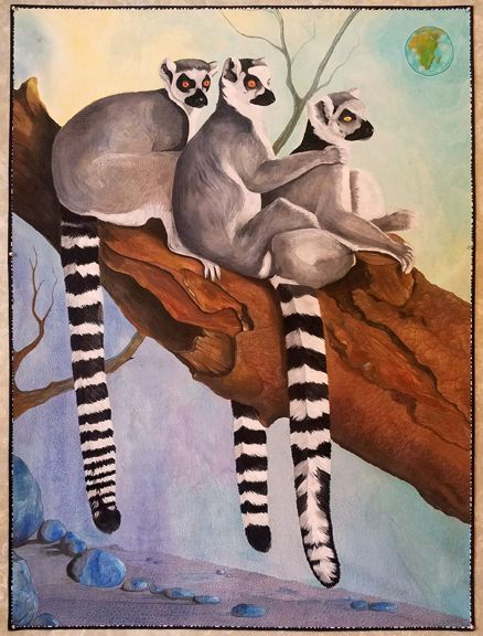 The Lemur's Tale by Maria Ferri Cousins & Syrie B Walsh quilt art at the Mid-Atlantic Quilt Festival 2017