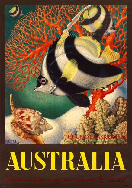 Australia, Great Barrier Reef vintage travel poster by Eileen Mayo