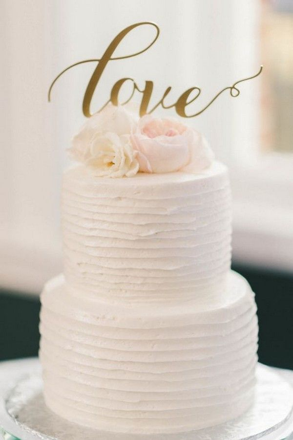 Simple Wedding Cake With Calligraphy Topper