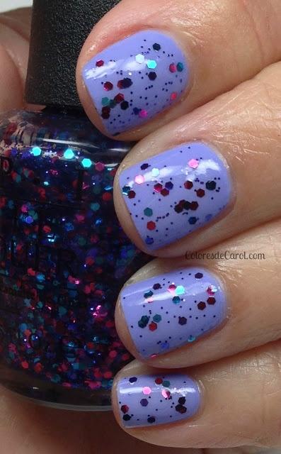 Colores de Carol blue glitter nails