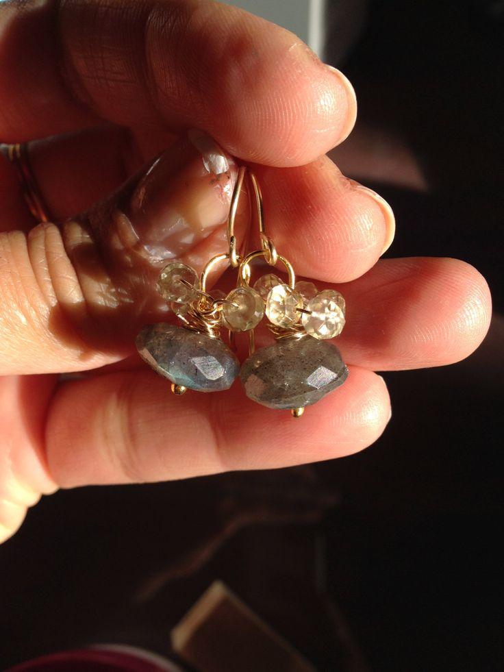 AAA Labradorite Lemon Quartz Gold Earrings, Lilyb444, Etsy jewelry,