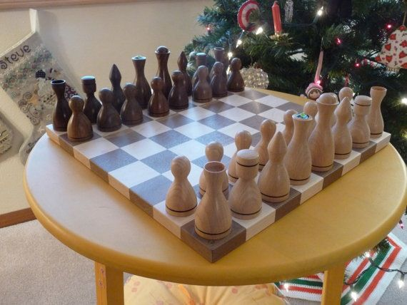 Unique Woodturned Design Chess Set Of Walnut And Beech.