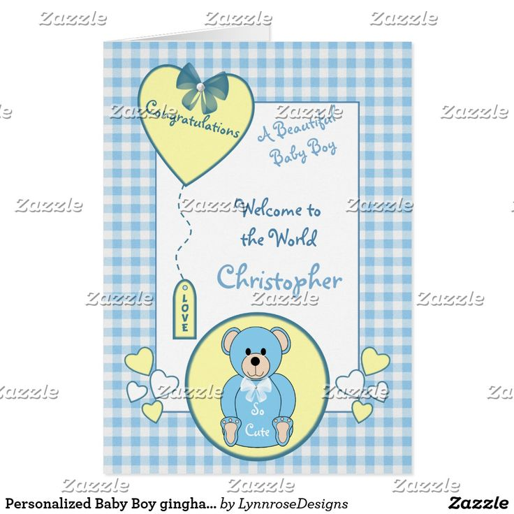 34 best zazzle new baby cards images on pinterest baby cards personalized baby boy gingham teddy bear blue negle Choice Image