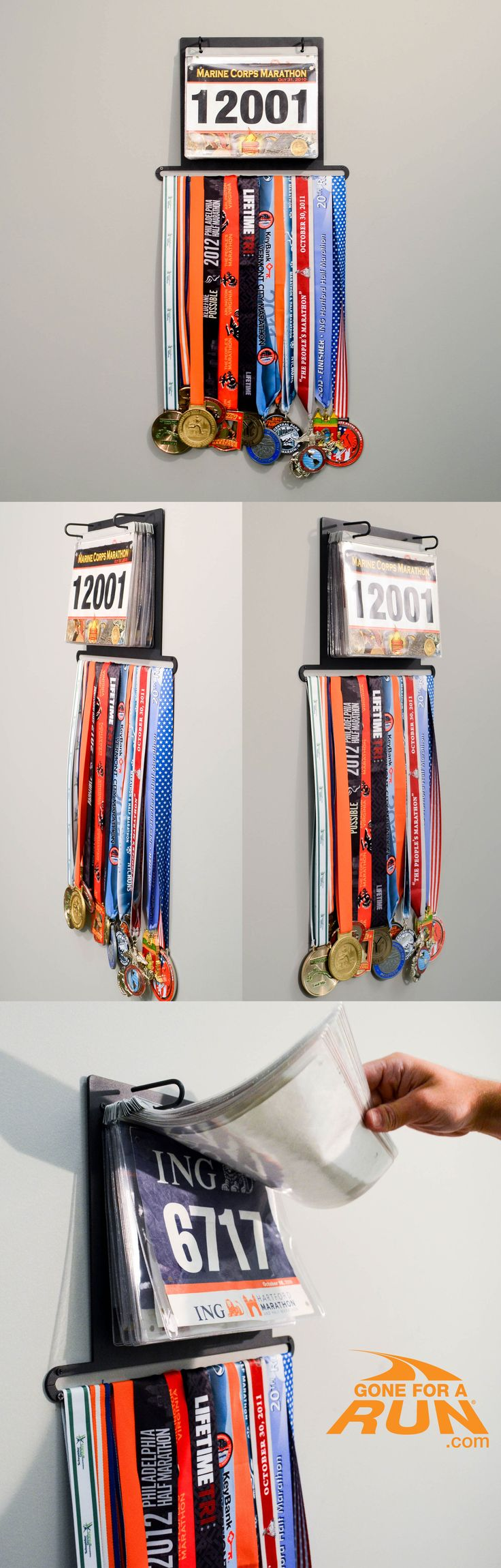 The one and only BibFolio Plus Race Bib and Medal display, only from GoneForaRUN! The best and most original design to proudly display both your race bibs and your hard earned medals al in one display. Also available is an option to add a beautiful cover that you can personalize! #running