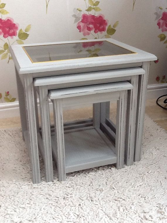 Shabby Chic Grey Nest Of 3 Tables French Country