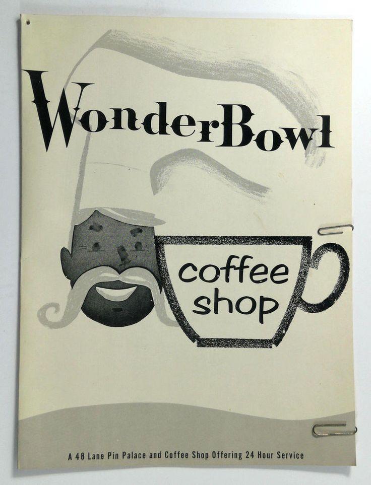 1960's Vintage Menu WONDERBOWL COFFEE SHOP Downey California Bowling Alley