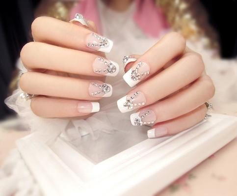 33 best 3d nail art images on pinterest 3d nails art japanese nude clear rhinestone crystal beaded fake nails glue on nails solutioingenieria Choice Image