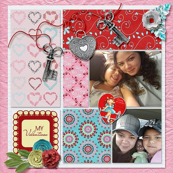 My pretty daughter and her adorable mini-me. PattyB Scraps - Near and Dear is a perfect kit to scrap photos of those you love. Flowers, lovely papers, and retro valentines with lots of bright red for sweethearts.