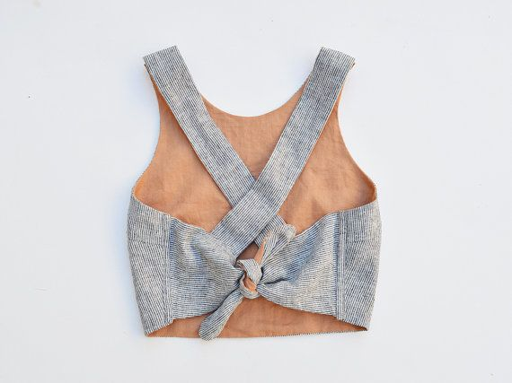 Reversible Cross Back Tie Tank Top //  Linen Cropped Tank Top - Reversible Tops - Linen Clothing - Women's Hand-made Clothing