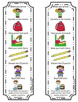 FREE! I put these tags on each student desk as a reminder of what to do in the morning when they come in from the buses.  They are a great pictoral and w...