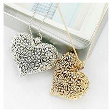 x28 Koreaanse sieraden retro holle gesneden bronzen wilde perzik hart lange hanger ketting 1 pcs gratis verzending(China (Mainland))