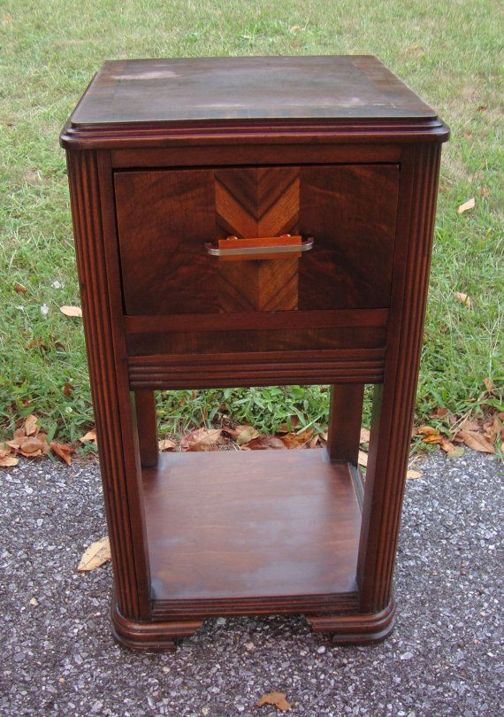 Vintage 1930s art deco nightstand side antique furniture for Waterfall design nightstand