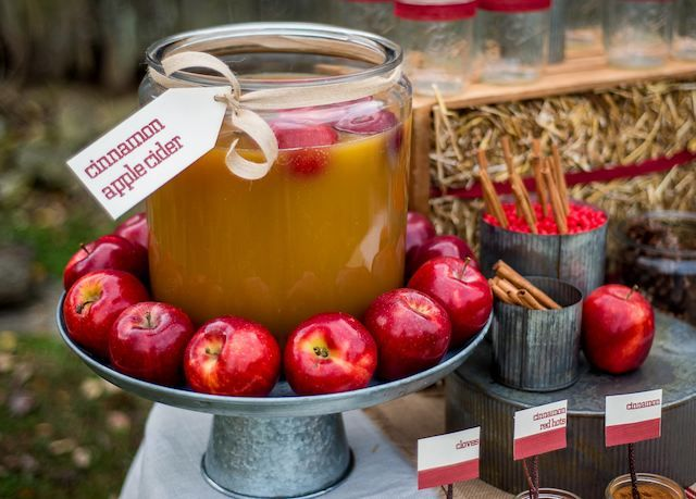 Apple bar- apple cider, make your own Carmel or candy apples- perfect for a fall wedding