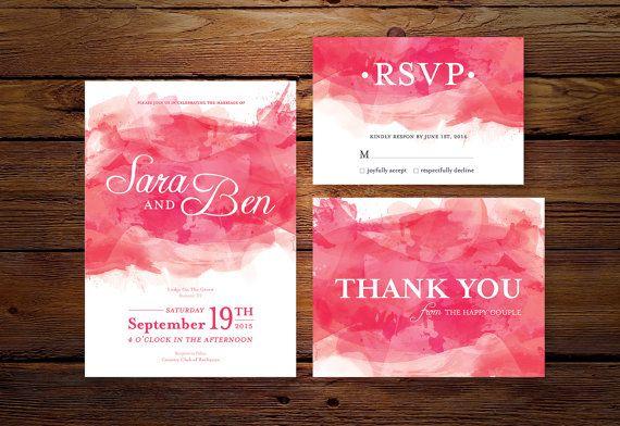 Printable Wedding Invitation // Pink Watercolor Wedding Invitation for Print DIY by MyLollyShop