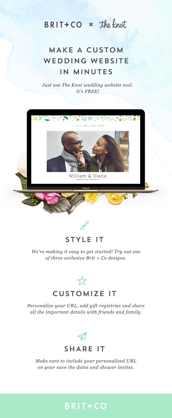 you can make a custom wedding website in minutes with the help of the knots easy