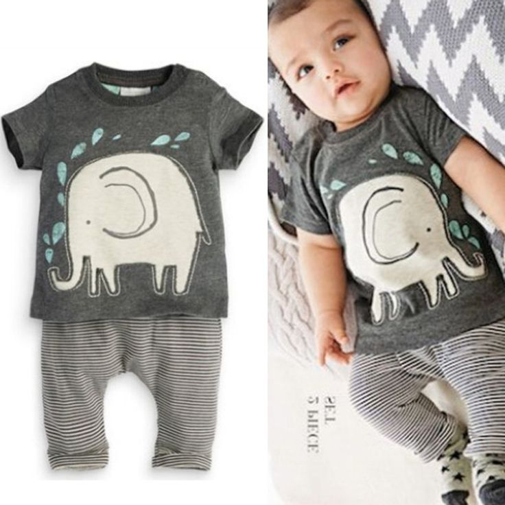 Toddlers Baby Boys Suits Elephant Print Tops Shirt + Long Pants Outfits Infant Clothes 2PCS