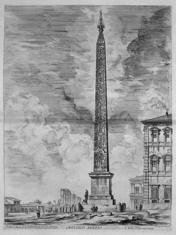 Vedute di Roma, Obelisco Egizio, 1760, incisione