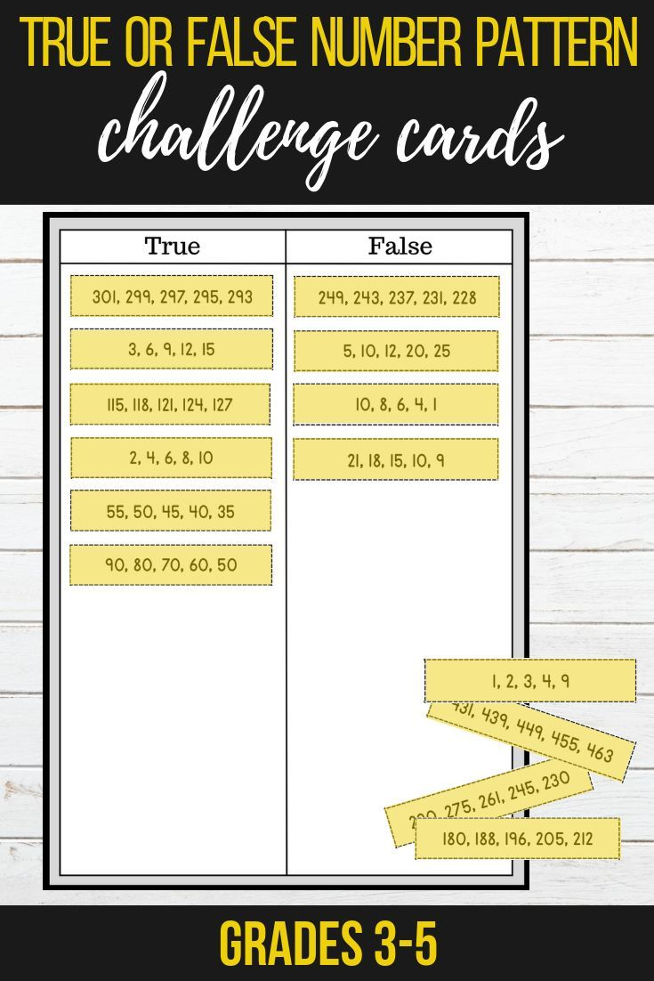 small resolution of Growing \u0026 Shrinking Number Patterns - True or False Challenge Cards   Numerical  patterns