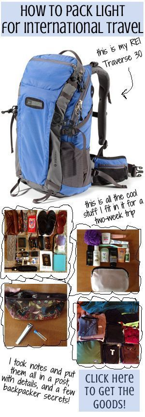 Ninja Packing Tips: Pack for two weeks in a 30L backpack. This specific trip was to Europe in the fall, which means cold weather clothing. Find out how to minimize your packing, select just the right combination of clothes without bringing items you don't need, and of course, how to choose the perfect shoes to take with you. It's all there, for aspiring light packers who want to see what it really looks like to pack light. You can do it! This will help ;)