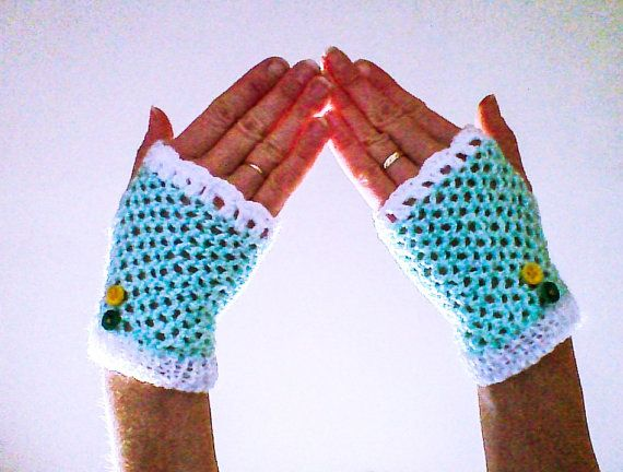 Hey, I found this really awesome Etsy listing at https://www.etsy.com/listing/178041350/teal-crochet-gloves-fingerless-gloves