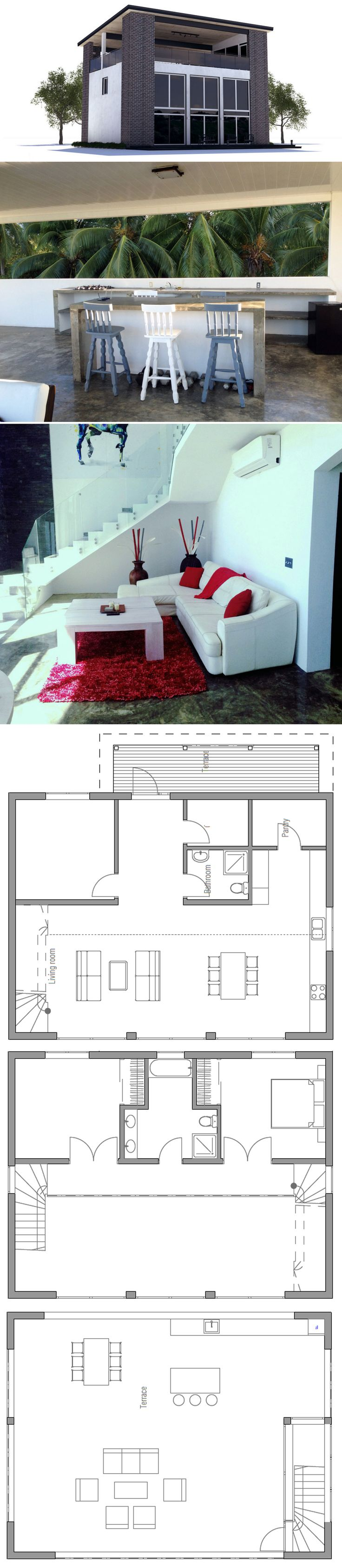 Modern House Plan With Rooftop Terrace, Three Bedrooms, High Ceilings