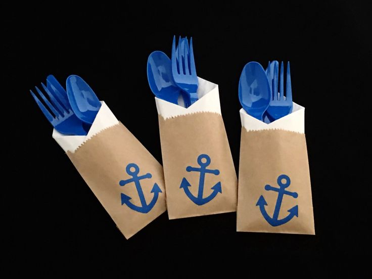 Cutlery Bags - Anchor - Nautical Baby Shower - Nautical Wedding - Beach Wedding - Engagement Party - treat bag - party favors - Anchor Party by SteshaParty on Etsy https://www.etsy.com/listing/488517387/cutlery-bags-anchor-nautical-baby-shower