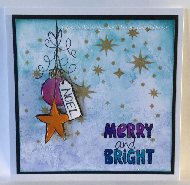 Handmade Christmas card by Kirsten Sheridan. JoFY stamps from PaperArtsy, Distress inks, Imaagination Crafts' stencil.