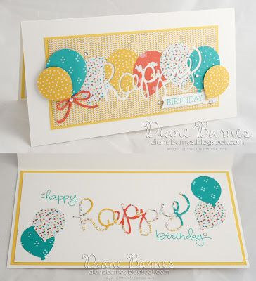 bright balloon birthday card using Stampin Up Balloon Bouquet punch, Hello You thinlit dies, Crazy About You & endless Birthday Wishes stamp sets & Cherry of Top DSP. By Di Barnes #colourmehappy 2016-17 annual catalogue