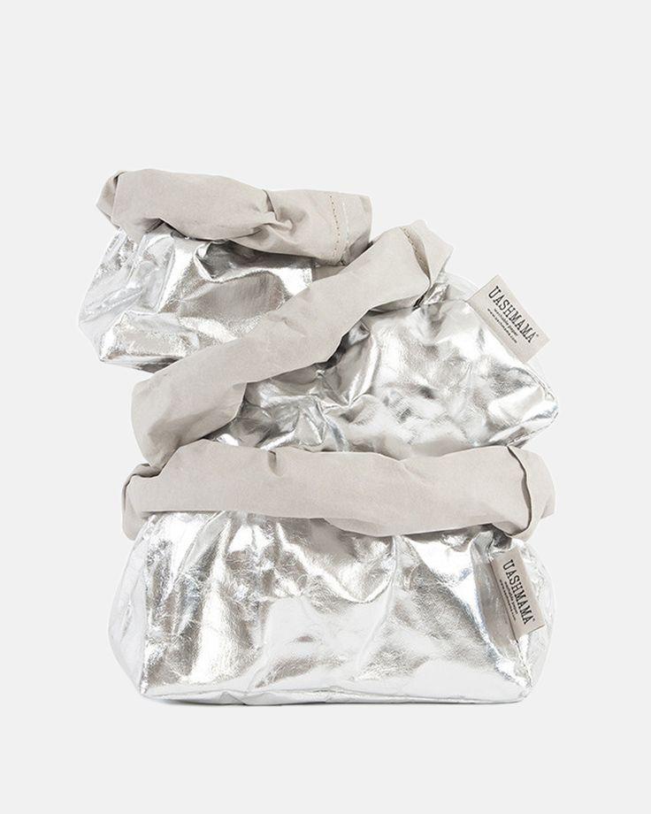 Uashmama Metallic Bag in Silver Grey