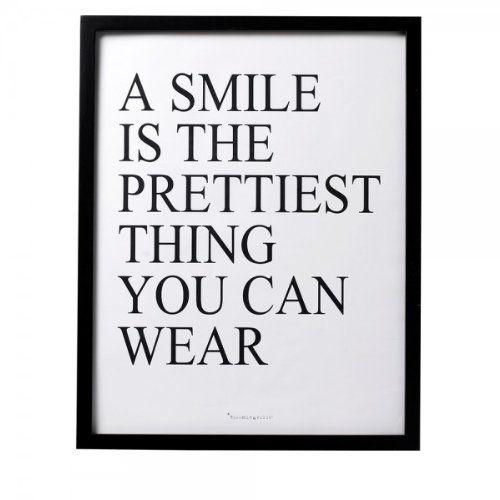"""Bloomingville Print mit Rahmen """"A smile is…"""" schwarz von Bloomingville"""