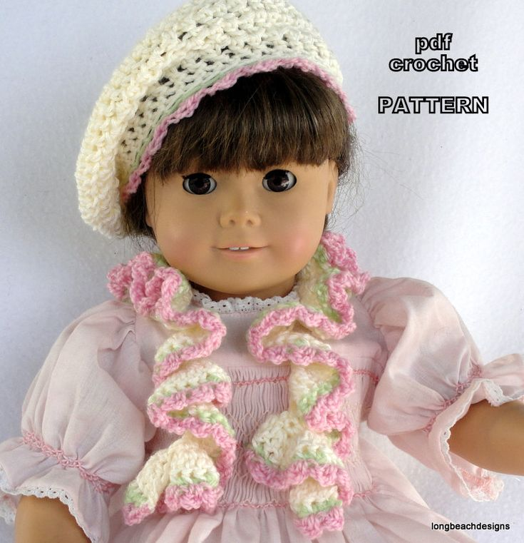 Crochet Pattern Doll Ruffle Scarf And Slouchy Beanie Beret