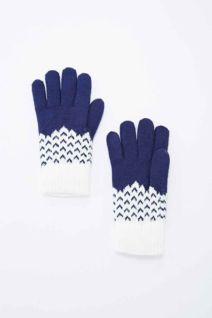 Arrow Super Soft Gloves in White and Navy