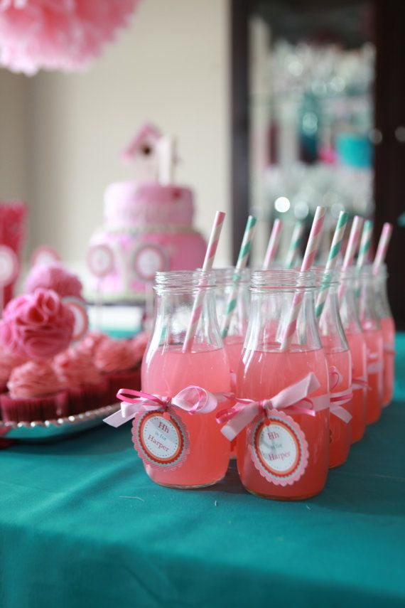 16 Glass Milk Bottle Jars Party Drink Bottles or by EllaJaneCrafts, $32.00 - perfect for milk and cookies!