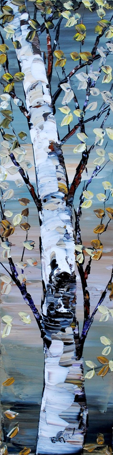 Looking Up Shades of Grey - original painting by Maya Eventov at Crescent Hill Gallery