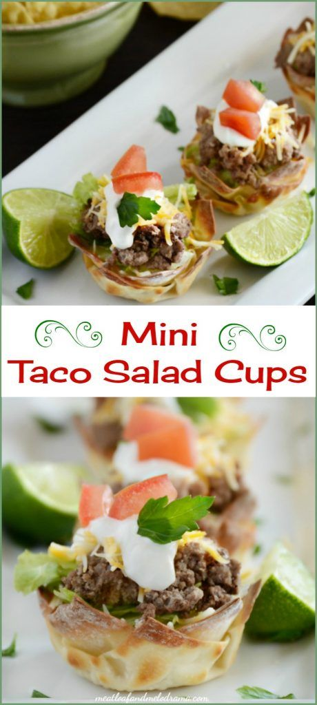 Mini taco salad cups are made with wonton wrappers and baked in a muffin tin. Add some taco meat, lettuce and toppings for an easy appetizer or dinner. Perfect for Cinco de Mayo!