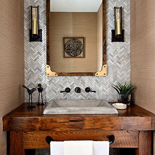Montecito NativeStone concrete sink in Ash installed in a rustic powder room.
