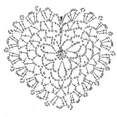 Crochet hart motif or ornament