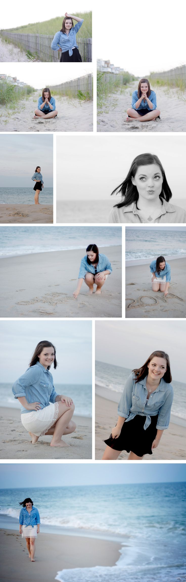 Senior portraits on the beach : great poses for senior girls, perfect simple outfit and beautiful light. These same poses would be perfect in a park or a field too!