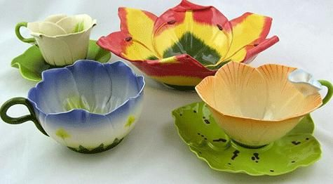 Dining and Kitchen, Tropical Flowers Tableware Sets Plates Mugs Set And Unique Dinnerware Sets That Look So Cute And Beautiful To Decorate Your Dining Table With Colorful Idea With Flower Design For Bowl And Cups ~ Make Your Dining Table More Beautiful With Unique Dinnerware Sets