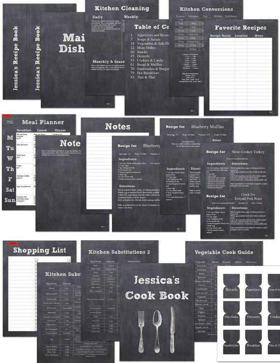 DIY Tafel druckbare Rezept Sammelmappe Kit von digitaldoodlebug