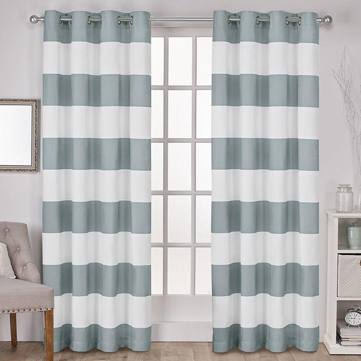 Birch Harbor Striped Semi-Sheer Grommet Curtain Panels
