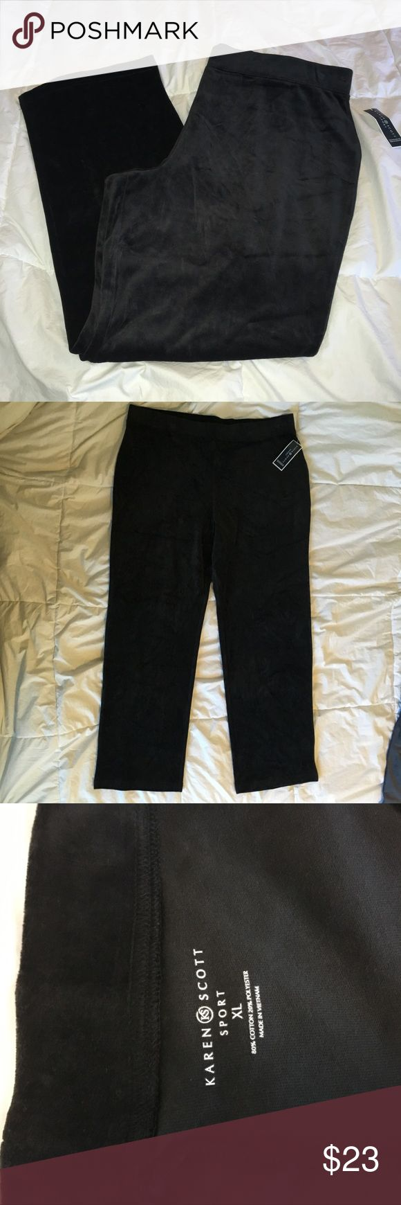 🛍 NWT szXL Karen Scott Sport Velour pants ▪️Size XL ▪️black velour (80% cotton) ▪️near-perfect condition (NWT)- has some impressions around the waist. They are hard to notice but I photographed them in the last photo ▪️fits true to size  ▪️any questions comment below  ▪️offers are welcomed Karen Scott Pants