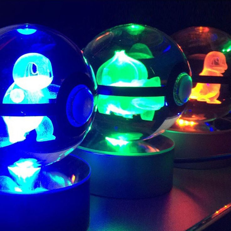 Light up your room the only way a Pokemon Master should with these 3D etched crystal Pokeballs. Each one contains a Pokemon trapped inside that glows brightly when you switch on the LED light base. Guaranteed to impress any Pokemon fan!