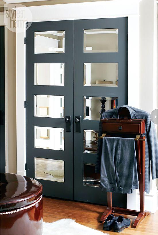 Mirror panels on closet doors