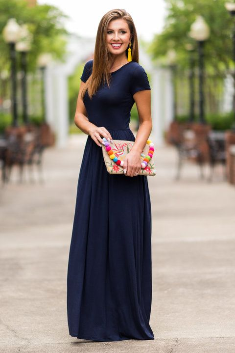 """The Take Off Maxi Dress, Navy"" It's just a matter of time before everyone sees this beauty and the sells take off! Everyone wants a maxi dress that feels this good and it this comfy! #newarrivals #shopthemint"