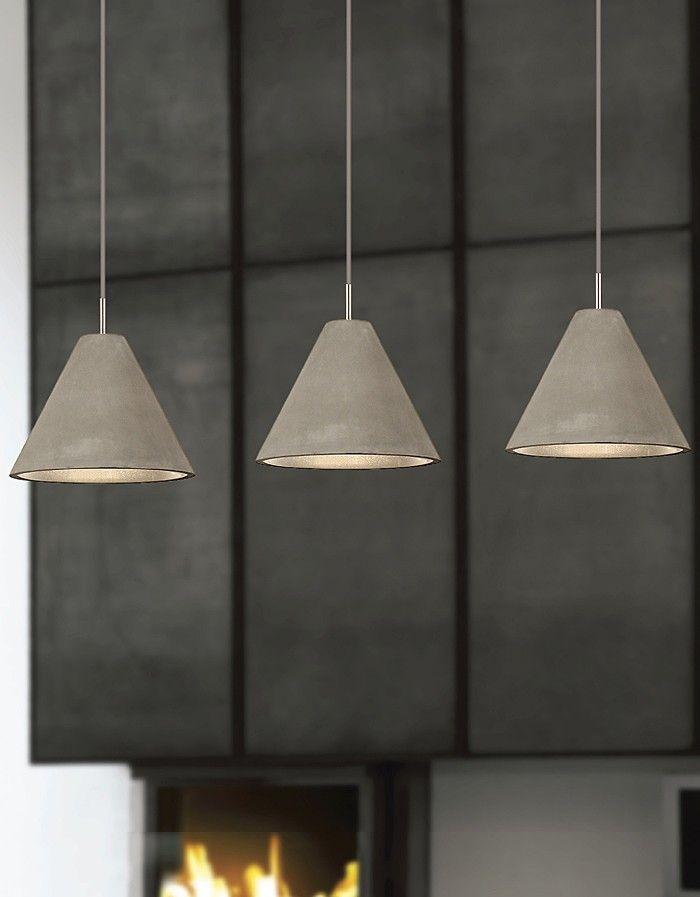 Viore Design Concrete Pendant Polished Chrome Ceiling Canopy Conical
