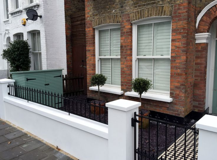 victorian front garden company walls rails black and white mosaic tile path…