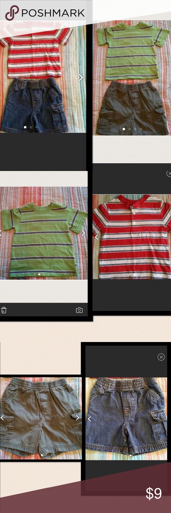2 striped shirt outfits 2 striped shirt outfits, 18 mo. Very small spots shown in last pic of green shorts. Matching Sets