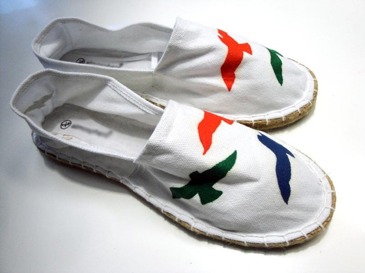 Hand painted seagulls on white canvas shoes by beh1ndbymk on Etsy